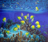 Butterfly fish and coral painting